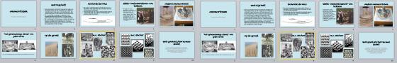 De dia's uit de PowerPoint presentatie voor de anamorfose activiteit