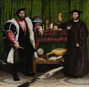 Hans Holbein de Jonge: De Ambassadeurs, op de voorgrond een 'memento mori' van de schedel