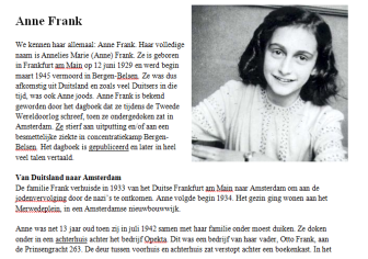 Lesbrief Anne Frank