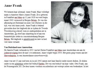 Lesbrief Anne Frank